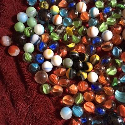 3 lbs of Marbles-Lots of Cat Eyes/ 8 to 10 Slits, Peltier, German, Akro Agate, Vintage Alley Agate, Jabo's  & etc.