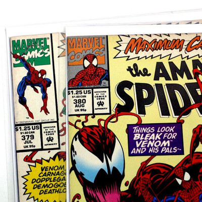AMAZING SPIDER-MAN #379 #380 Carnage Parts 7 and 11 Marvel Comics 1993 vf/nm
