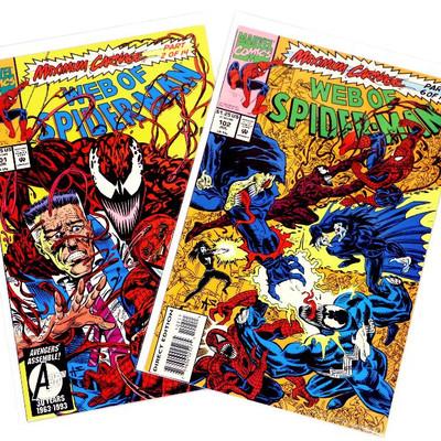 WEB OF SPIDER-MAN #101 #102 Carnage Parts 2 & 6 Venom Marvel Comics 1993