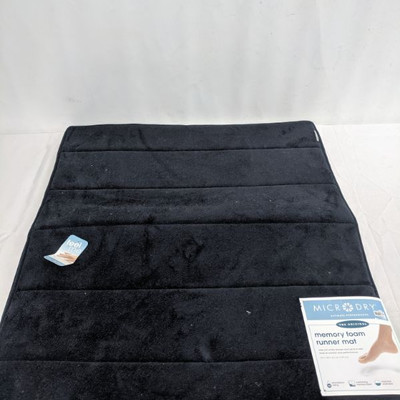 Memory Foam Runner Mat, Black, 24