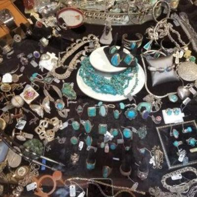 Big selection of Mexican and Native American silver.