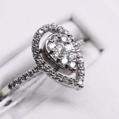 14K White Gold Genuine Natural Diamond Engagement Ring