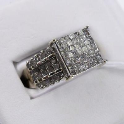 10K White Gold Natural Diamond Engagement Ring - 1.50 Carat