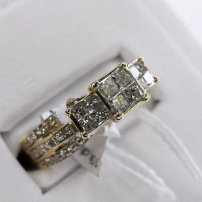 10K Yellow Gold & Genuine Natural Diamond Engagement Ring - 1.3ctw