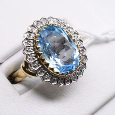 10K Yellow Gold Natural Diamond & Aquamarine Ring