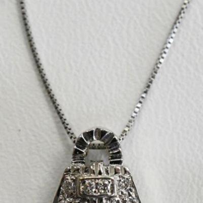 14K White Gold Natural Diamond Purse Necklace