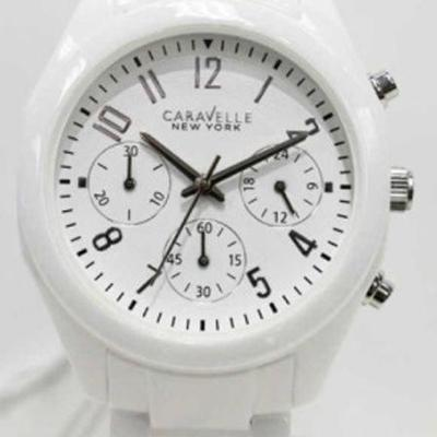 Caravelle 45L145 Women's New York Ceramic White Dial Chrono Watch - New In Box