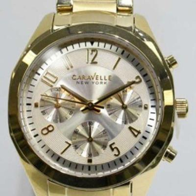 Caravelle NY 44L118 Men's St. Steel Gold Plated Chronograph WR. Watch