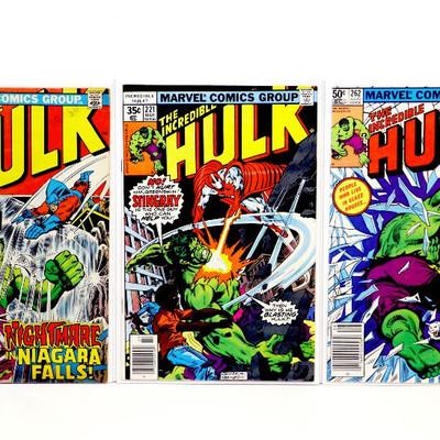 HULK #160 #221 #262 Bronze Age Comic Books Set 1973/78/81 Marvel Comics
