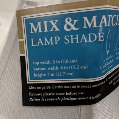 Lamp Shade, Mini, White, Set of 3 - New