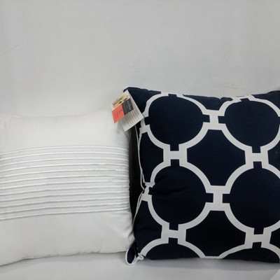 Damask Stripe Decorative Pillow White, West Point Pillow Navy - New