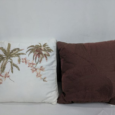 2 Decorative Pillows: Floral/White & Brown Beaded, 14