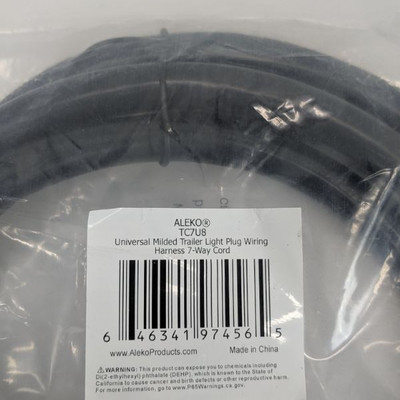 Aleko TC7U8 Universal Molded Trailer Light Plug Wiring Harness 7- Way Cord - New