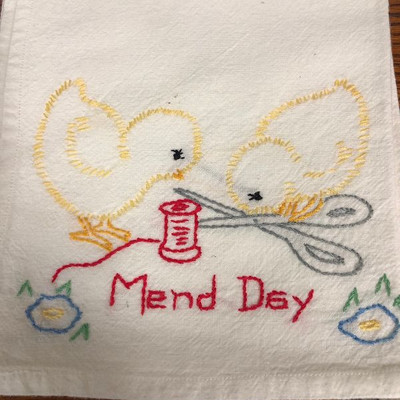 Lot #3 - Six, 6 hand embroidered dish towels with chicks