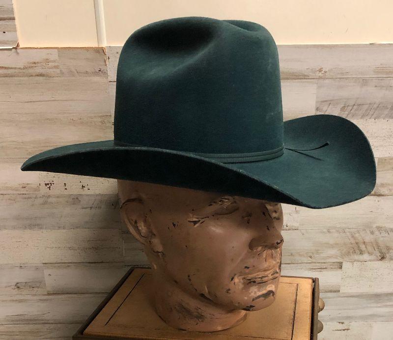 Lot 9 American Hat Company Green Felt Cowboy hat | EstateSales org
