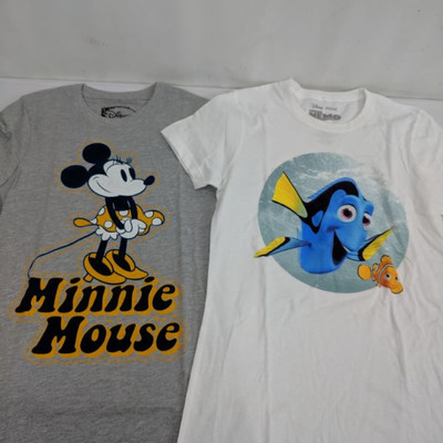 Disney Kids Minnie Mouse & Finding Nemo Short Sleeve T-Shirts, Kid's Small - New