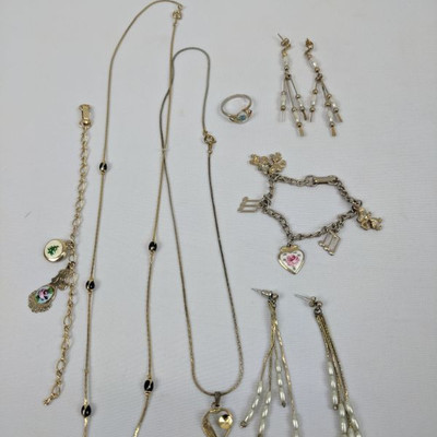Costume Jewelry, 7 Qty: Earrings, Charm Bracelets, Necklaces, Ring