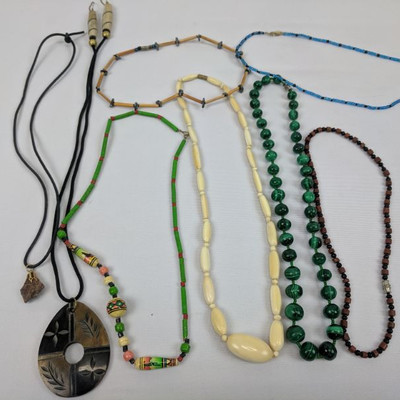 Costume Jewelry: 6 Beaded Necklaces, 2 Corded Necklaces