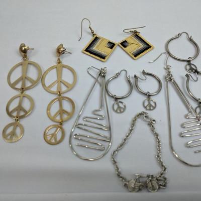Costume Jewelry: 5 Earrings, Bike Bracelet