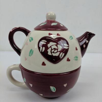 Tea Pot/Cup W/ Rose & Heart
