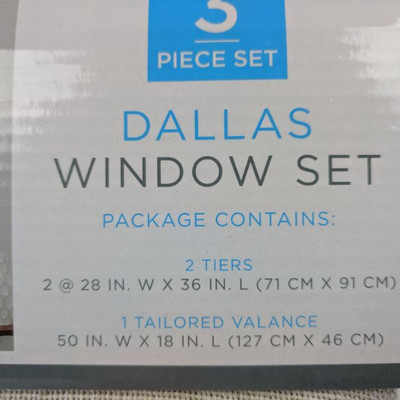 Dallas Window Set 3 Piece Set, Beige - New