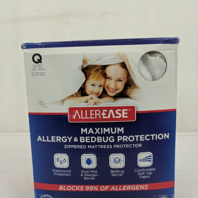 Allerease Maximum Allergy/Bed Bug Mattress Protection, Queen - New