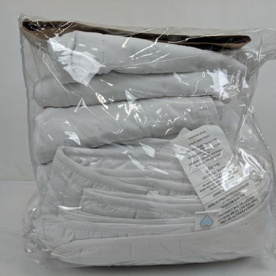Home Spun Quilted Coverlet Set King/Cal King, White, 3 Piece - New, Open Package