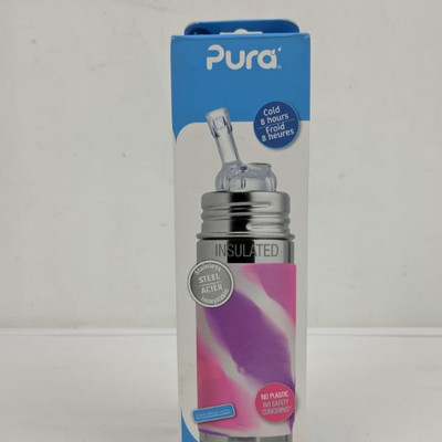 Pura Insulated Steel Baby Bottle, 9 oz, Pink Marble - New