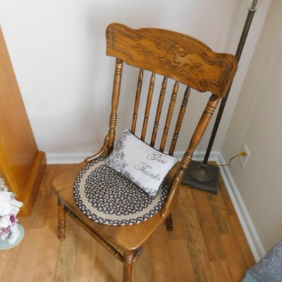 Oak Spindle Back Chair with Carved Head Rest