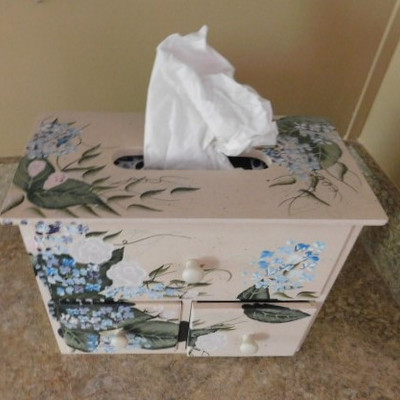 Hand Painted Wood Tissue Box with Storage Drawers 11