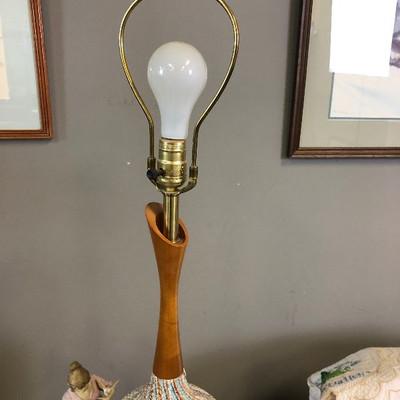 Lot 2 Mid Century Modern Table Lamp Ceramic base MCM