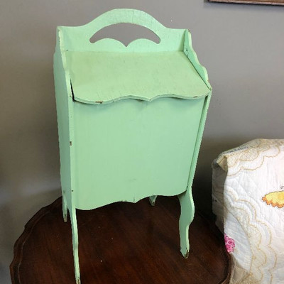 Lot 4 Antique sewing box or magazine rack