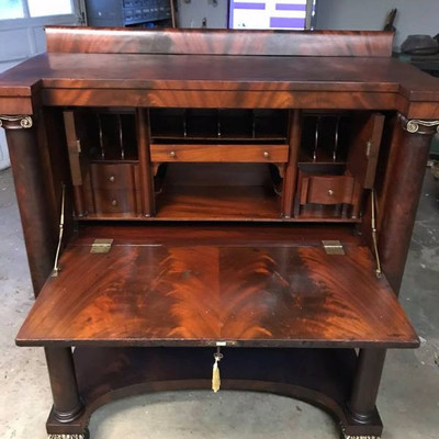 Antique Empire Classical Butler's Desk With Key