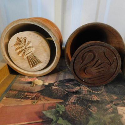 Set of Five Wood Butter Presses