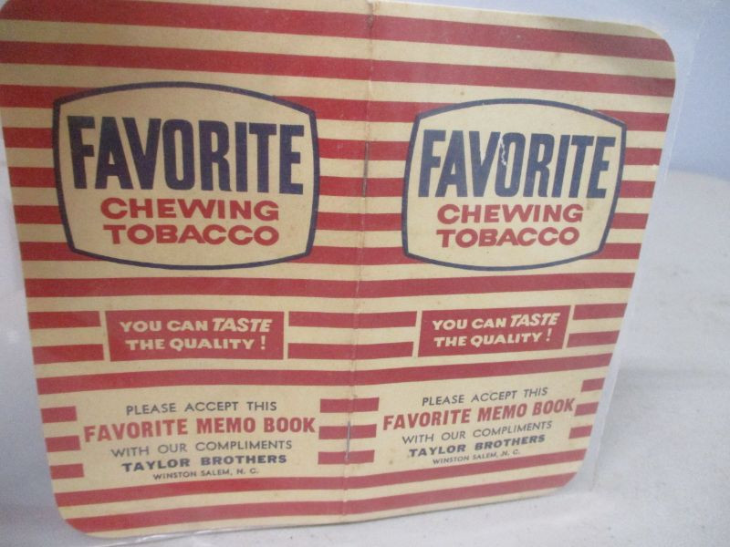 1961 Favorite Chewing Tobacco Memo Book | EstateSales org
