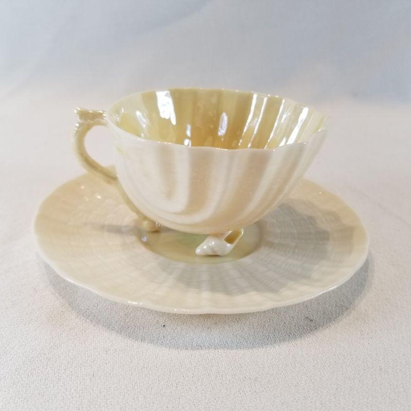 Belleek Irish China Shell Design Cup And Saucer Estatesales Org