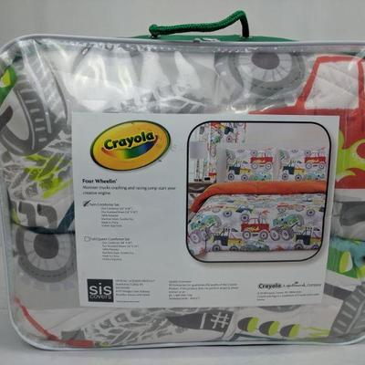 Crayola Four Wheelin' Monster Trucks Twin Comforter Set - New