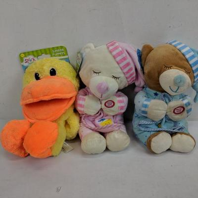 3 Stuffed Animals, NWT But Some Need Cleaning, Bears & Singing Duck Puppet