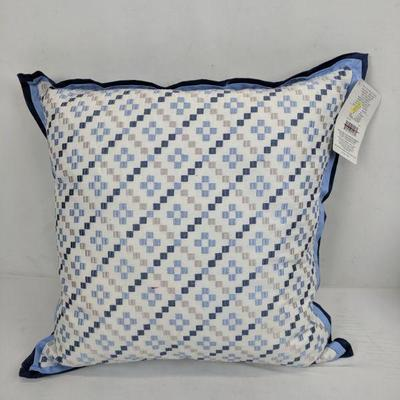 Decorative Pillow, 18x18 Blue, Lt Blue, White, Gray. With Small Pink Mark