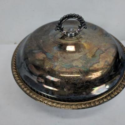 Silver Plated Bowl with Lid. Tarnished