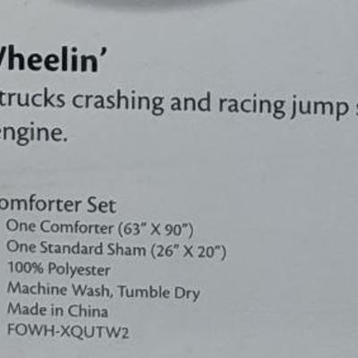 Crayola Four Wheelin' Monster Truck  Twin Comforter Set, COmforter & Sham - New