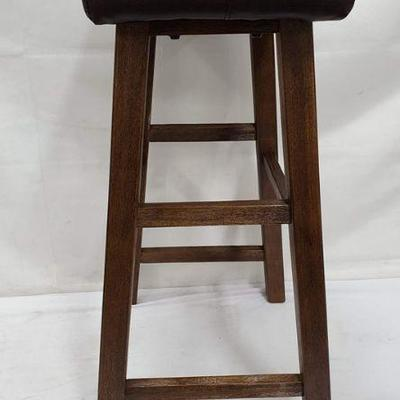 Incredible Bar Stool Wooden Bottom Brown Faux Leather Top Cushion New Estatesales Org Short Links Chair Design For Home Short Linksinfo