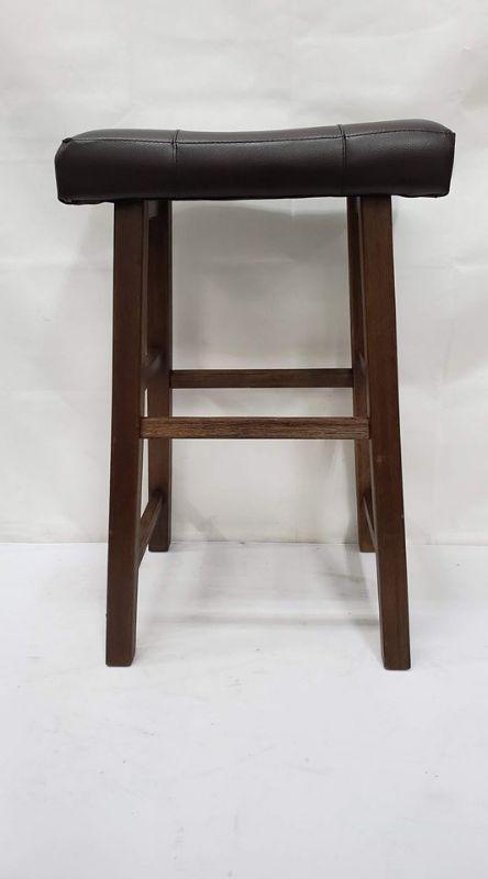 Pleasing Bar Stool Wooden Bottom Brown Faux Leather Top Cushion New Estatesales Org Short Links Chair Design For Home Short Linksinfo