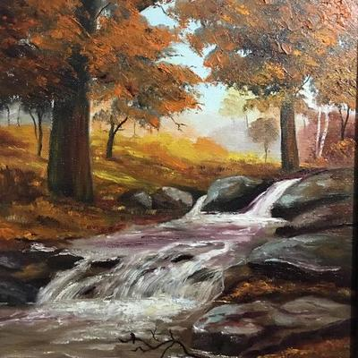 Lot 2 original oil paint trees and creek 22x19 location lvo