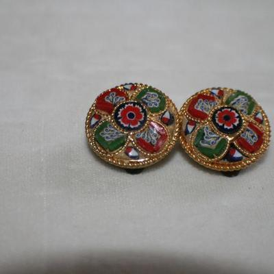 Vintage Goldtone Disc Clip On Earrings with Red & Green Design