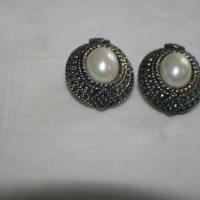 Vintage Marcasite Clip On Earrings with Faux Pearl