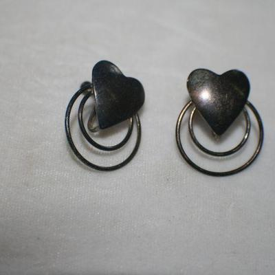 Vintage Silvertone Heart with Circles Screw Back Earrings