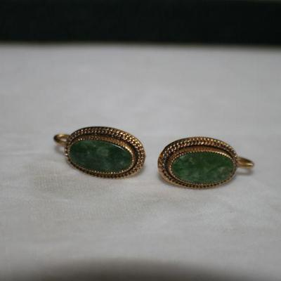Vintage Goldtone Oval Screw back Earrings with Green Stone