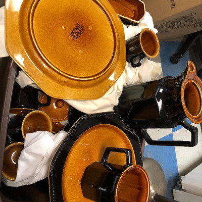 Vintage Ironstone Octagon Amber Dinnerware!!!  $275!! 75+ pieces!!
