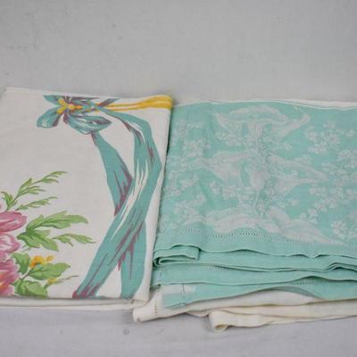 2 Vintage Tablecloths Mint & Floral